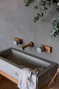 "Wood Melbourne I ParTaps Ligano Brass Spout (""Jo-Hannah"")The Block Shop - Channel 9 Modern Shower, Modern Bathroom, Bathroom Taps, Bathroom Cabinets, Spa Bathrooms, Timeless Bathroom, Concrete Wood, Bathroom Interior Design, Bathroom Designs"