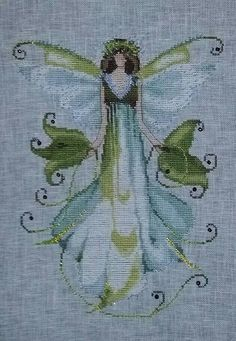 "Completed Cross stitch, Pixie Couture by Nora Corbett ""Morning Glory"" NC126"