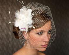 BIRD CAGE VEIL , wedding hat, fabulous headdress, bridal hat. Amazing wedding hair flower.