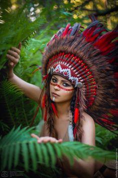 Купить Индейский головной убор - Огненный Цвеок - ярко-красный, индейский стиль, индейцы