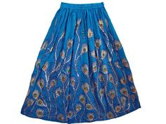"""Boho Skirt Blue Designer Sequin Skirt Peacock Feather Print Gypsy Long Skirt 36""""   eBay $21.99"""