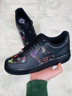 Multicolor Monogram Black Air Force 1 by cloutcvlture Sneakers Mode, Custom Sneakers, Custom Shoes, Sneakers Fashion, All White Air Forces, White Air Force 1, Shoes Heels Boots, Heeled Boots, Fashion Edgy