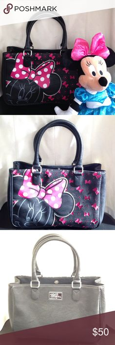 Disney Boutique Minnie Mouse Purse NWOT Brand New Without Tags Black/Pink Tote Disney Parks Authentic Original purchased at Walt Disney World Disney Bags