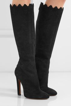 Alaïa - Scalloped Suede Knee Boots - Black - IT39.5