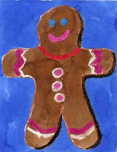 Watercolor and crayon Gingerbread Cookie. Art Projects for Kids