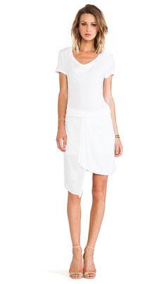 MONROW Slub Cotton Modal Drape Neck Dress in White