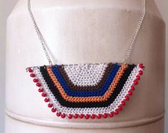 New-- Tribal African-inspired necklace stripe color block crochet pendant - black brown white orange turquoise red