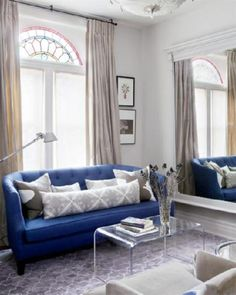 Style at Home - living rooms - Farrow and Ball - Skimming Stone - Peeakaboo Clear Coffee Table, Crate & Barrel Azure Sofa, blue sofa, bl. Living Room Decor On A Budget, Living Room Trends, Small Living Rooms, Home And Living, Living Room Designs, Narrow Rooms, Living Spaces, Blue Couch Living Room, Blue Couches