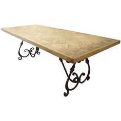 Parquetry Dining Table with Wrought Iron Base at 1stdibs