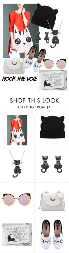 """""""Cat votes for the fish 🙃"""" by riccio-25 ❤ liked on Polyvore featuring Amanda Rose Collection, Fendi, Karl Lagerfeld and rockthevote"""
