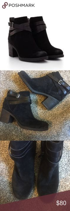 Sam Edelman Hannah size 8 Black suede with leather straps with silver buckles. Heel. Worn several times Sam Edelman Shoes Ankle Boots & Booties