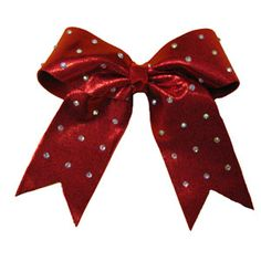 Custom Large Specialty Material Bow with Rhinestone Overlay by Cheerleading Company