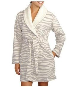 Womens-Dearfoams-Plush-Fleece-BATHROBE-Robe-Size-XL-2X-Gray-Zebra-Short-Sherpa