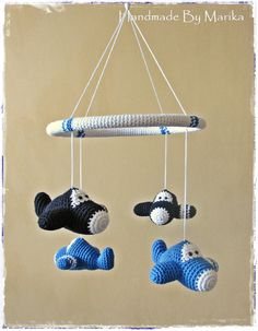 Baby crib mobile crochet airplanes  organic cotton  by ByMarika, $98.00