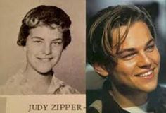 14 Time Travelling Celebrities: Most people believe that Leonardo DiCaprio was born in the mid-seventies, but there is strong evidence indicating that he was actually born in the early sixties and is in fact a woman called Judy Zipper.