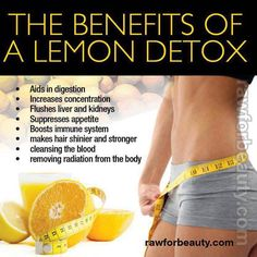 Lemon Detox ❥➥❥ An average person carries around 10 to 20 pounds of toxins in their system every day. Many of these toxins cause health problems like fatigue, intestinal problems and constipation. The Lemon Detox Cleanse makes you feel healthier and also helps you lose weight. The #Lemon #Detox is a great, natural way to relieve your body of these toxins and get you one step closer to healthier living.. pinned with Pinvolve - pinvolve.co