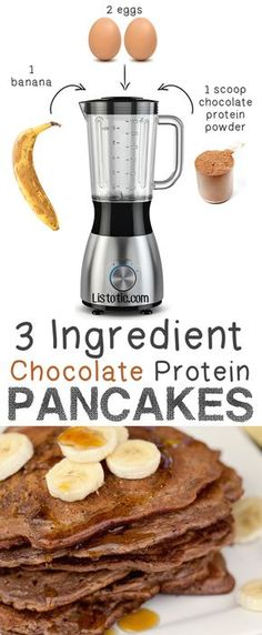 #1. 3 Ingredient Chocolate Protein Pancakes... guilt free! -- 6 Ridiculously Healthy Three Ingredient Treats