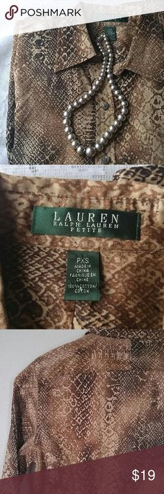 "Ralph Lauren PXS Brown Snakeskin Button Down Lovely Snakeskin pattern cotton blouse from Ralph Lauren.  Size petite extra small 100% cotton, fine weave w/ almost silky texture Like new condition 17"" armpit to armpit 23"" sleeve from shoulder 23.5"" long collar to hem Ralph Lauren Tops Button Down Shirts"