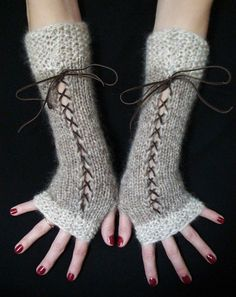 Fingerless Gloves Long Corset Arm Warmers Natural Beige and Light Brown/ Taupe  with Suede Ribbons Victorian Style