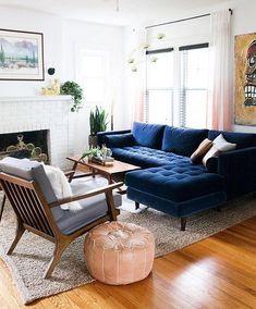 Home Interior Design .Home Interior Design Blue Couch Living Room, Home Living Room, Interior Design Living Room, Living Room Designs, Apartment Living, Blue Living Room Furniture, Modern Living Rooms, Blue Furniture, Bedroom Modern