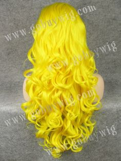 2013 New Fashion 26 Inch Long Curly Synthetic Yellow Wigs with Bangs