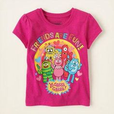 A super cute tee for your Yo Gabba Gabba fan!. Made of 100% cotton jersey. Pre-washed for softness and to reduce shrinkage. Rib-knit trim at the neck. Tagless label. Imported. Available..