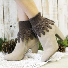 Lace socks - signature lace socks - victorian lace - cuff socks - signature… Lace Socks, Lace Cuffs, Boot Cuffs, Boot Socks, Socks For Flats, Signature, Bare Foot Sandals, Chocolate Brown, Ankle Boots