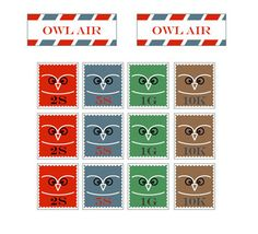 I really like the simplicity of the owl design - Owl Post Stamps