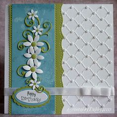 ** Handmade Birthday Card With Folder Embossing And Paper Floral Embellishments @debby4000