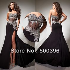 Sexy Sequined Sweetheart Bodice Corset High Slit Black Chiffon Tony Bowls Long Evening Dresses Mermaid Prom Party Gowns 2014 $239.99