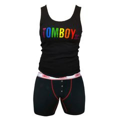 TomboyX Pride Tank & Boxer Briefs - Black Tank with Black Good Carma Combo