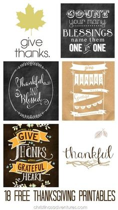 Awesome round-up of 18 free Thanksgiving printables. Love these Thanksgiving decor ideas.