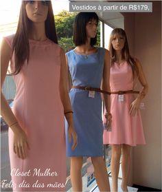 Vitrine Closet Mulher  Vestidos rosa e azul claro Acessórios  www. Facebook/closetmulher.com