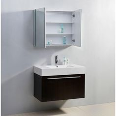 Modern Bathroom Wall Vanity Mounted Idea Top New Cabinet Unit Mirror Light Hung Against Sconce Plum Bathroom, Bathroom Wall, Modern Bathroom, Small Bathroom, Downstairs Bathroom, Bathroom Interior, Bathroom Vanity Designs, Best Bathroom Vanities, Single Sink Bathroom Vanity