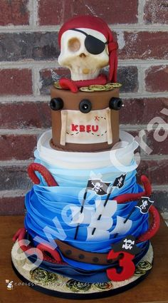 Coolest 3 Tier Pirate Cake... Coolest Birthday Cake Ideas