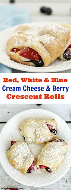 These red , white and blue cream cheese and berry crescent rolls make a great treat for your patriotic holidays! Serve them for breakfast or as a delicious dessert.