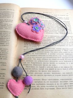 It s a wonderful gift for those who you love. These bookmarks fit comfortably in the pages of a book and charm dangling on the outside.All the details are hand-sewn. A book-mark can be used and as a decoration for a bag or backpack or as a keychain. Children also can carry this heart as necklace.   heart measures approx-2 1/2 (6.5 cm)  Made in a smoke free home. Thank you for visiting my shop
