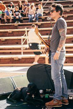 John Mayer and his pup at Red Rocks