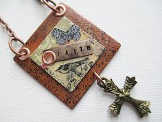 Faith Mixed Media Necklace Stamped Jewelry by LittleBitsOFaith