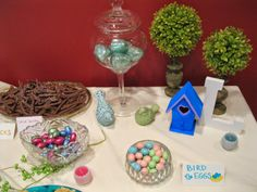 """Lovebirds Bridal Shower decor - """"Bird Eggs"""" for dessert and appetizers include chocolate eggs and Deviled Eggs. """"Nest Sticks"""" Chocolate dipped pretzels *More ideas at Twins in the Cities*"""