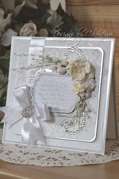 Tone on Tone (Flowers, Ribbons and Pearls) Love Cards, Diy Cards, Die Cut Cards, Pretty Cards, Wedding Anniversary Cards, Wedding Invitation Cards, Birthday Cards For Women, Shabby Chic Cards, Greeting Cards Handmade