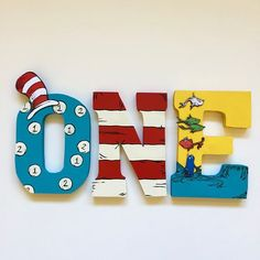 Dr Seuss - Cat in the Hat - Birthday decorations - wood letters