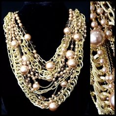 """Chunky Layered Pearl Gold Chain Statement Necklace Faux Pearl Statement Necklace  ‼️ PRICE FIRM UNLESS BUNDLED ‼️ ABSOLUTELY FABULOUS STATEMENT PIECE!!!  Champagne color faux pearls & chunky layered gold color chain. Sure to dress up even the most basic outfit. Length is approximately 23"""" with including a 2"""" adjuster chain to the first layer. Pearls drape down approximately 5"""". Please check my closet for many more items. Boutique Jewelry Necklaces"""