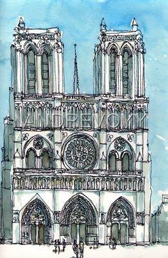 PARIS Notre Dame Cathedral Front art print from an original watercolor Watercolor Architecture, Art And Architecture, Pen And Watercolor, Watercolor Landscape, Watercolor Painting, Sketches Arquitectura, Art Parisien, City Sketch, Paris Art