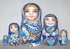 UNIQUE Russian Dolls 5 Gzhel style Girls CHMELEVA exclusive HAND MADE BABUSHKA in Dolls & Bears, Dolls, Clothing & Accessories, Russian Dolls | eBay