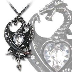 Dragon Heart Necklace Diamond Heart Jewelry Draconic Wiccan, Gothic
