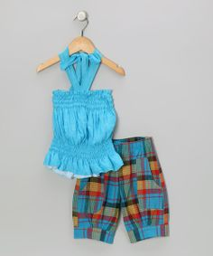 Take a look at the Teal Halter Top & Plaid Capri Pants - Girls on #zulily today!