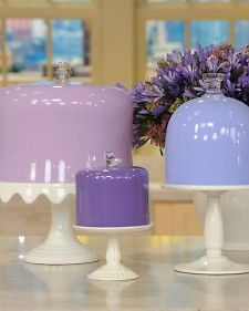 Update glass cake domes with a little Martha Stewart Multi-Surface Paint!