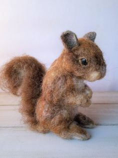 Needle Felt Squirrel  Forest Animal  Woodland Nursery by psfelting