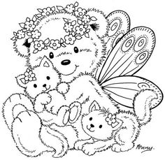 Stampavie - Clear Stamp - Fairy Bear - by Penny Johnson Cute Coloring Pages, Adult Coloring Pages, Coloring Pages For Kids, Coloring Sheets, Coloring Books, Colorful Drawings, Colorful Pictures, Copics, Colored Pencils